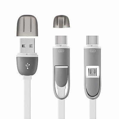 CABO 2 EM 1 MICRO USB COM ADAPTADOR TYPE-C BRANCO