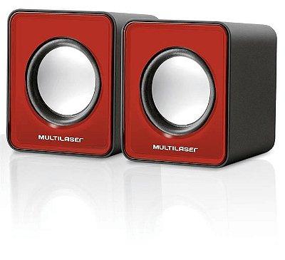Caixa De Som 2.0 Mini 3w Rms Vermelho Multilaser - SP197