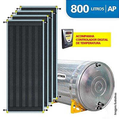 Aquecedor Solar Soletrol 800 Litros Digital com 4 Coletores Solares de 2.0m² - Alta Pressão