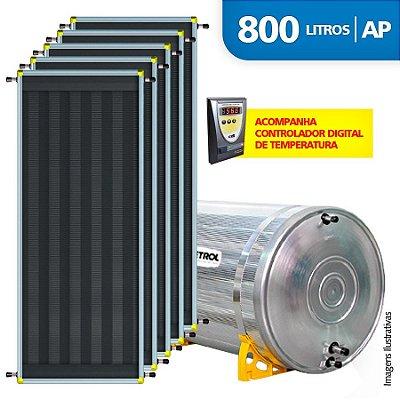 Aquecedor Solar Soletrol 800 Litros Digital com 5 Coletores Solares de 2.0m² - Alta Pressão
