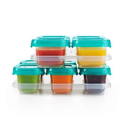 Bandeja com 10 potes de armazenamento com tampa Oxotot  - Verde Azulado