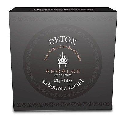 Sabonete Facial de Carvão Ativado e Aloe Vera DETOX AhoAloe 40g