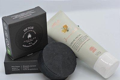 Kit Presente Rosto Sabonete Detox Facial AhoAloe e Creme Facial Immortelle Arte dos Aromas