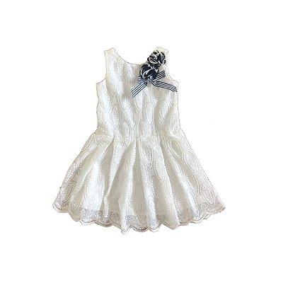 Vestido UM MAIS UM Infantil Off White Bordado