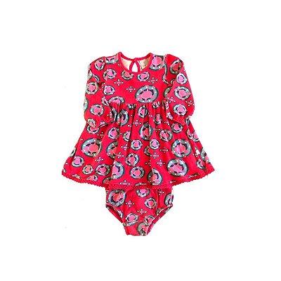 Vestido PUC Infantil Pink Estampado Bolas Coloridas