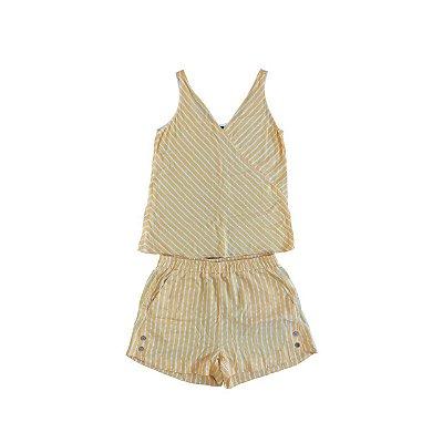 Conjunto Regata e Shorts LMNTS Feminino Branco e Amarelo