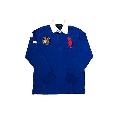 Camiseta Polo Manga Longa RALPH LAUREN Infantil Azul Bic