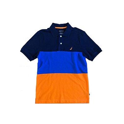 Camiseta Polo NAUTICA Infantil Marinho, Azul Bic e Laranja