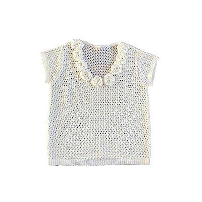 Blusa Tricot Off White com Apliques de Flores