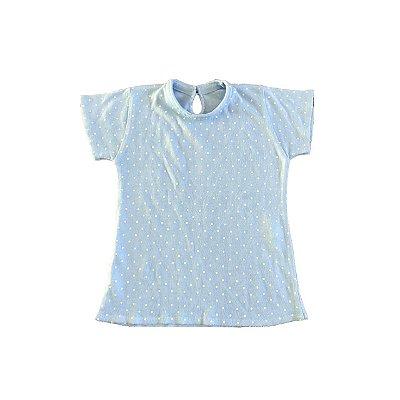 Blusa Tricot Bela Beloca Poá Azul e Branca