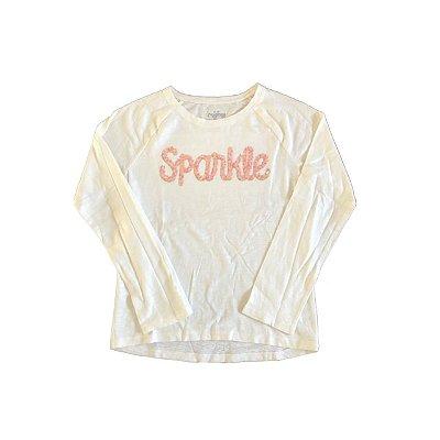 Camiseta Manga Longa OSHKOSH Infantil Off White SPARKLE