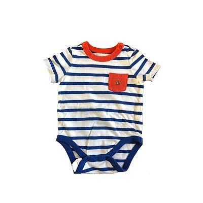 Body baby GAP Infantil Branco com Listras Marinho e Bolso Vermelho