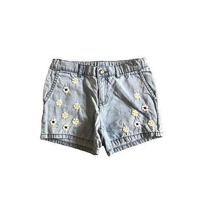 Shorts Jeans CARTER`S Infantl Azul Florzinhas
