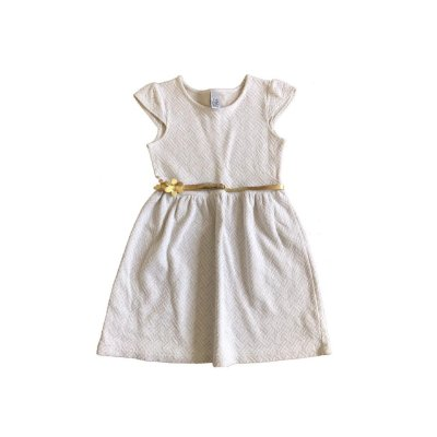 Vestido ZARA Infantl Off White e Dourado com Cinto