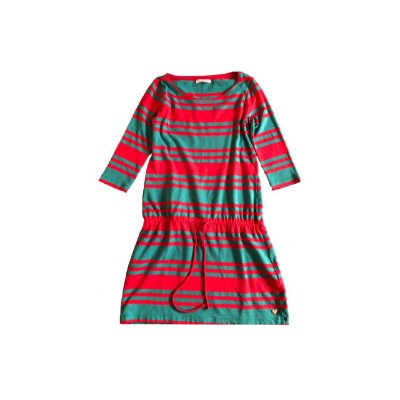 Vestido LE LIS PETIT Infantl Vermelho e Verde Listras