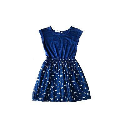Vestido Gap Kids Azul com Tule Estrelas