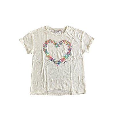 Camiseta ZARA KIDS Infantil Off White Coração Bordado
