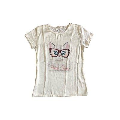 Camiseta KIDS`S PLACE Infantil Off White Gatinha de Oculos