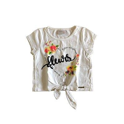 Camiseta MOMI Infantil Branca FLEURS com Nozinho