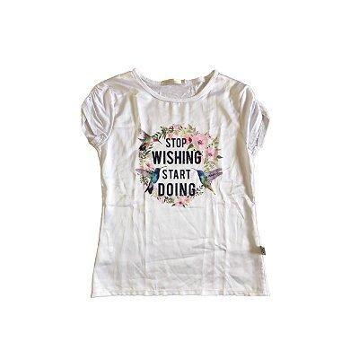 Camiseta KID`S PLACE Infantil Branca STOP WISHING