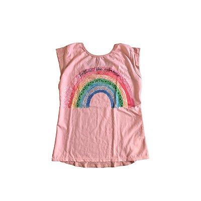 Camiseta VIC&VICKY Infantil Rosa Arco-Iris