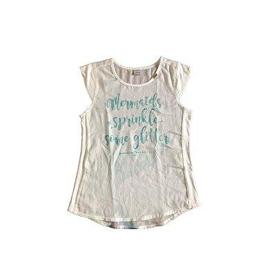 Camiseta VIC&VICKY Infantil Branca sem Manga Calda de Sereia