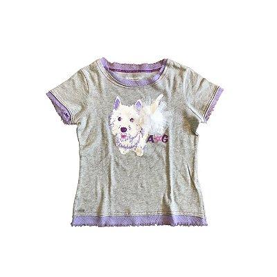 Camiseta AMERICAN GIRL Infantil Cinza Cachorrinho Branco