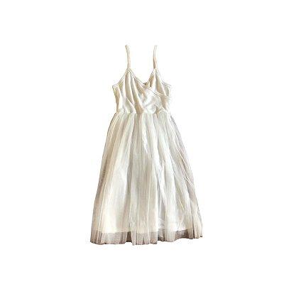 Vestido Regata Tule QTE Infantil Branco
