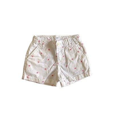 Shorts GAP KIDS Infantil Branco com Estrelas Rosa