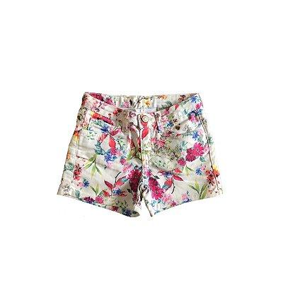 Shorts ZARA GIRL Infantil Branco Florido