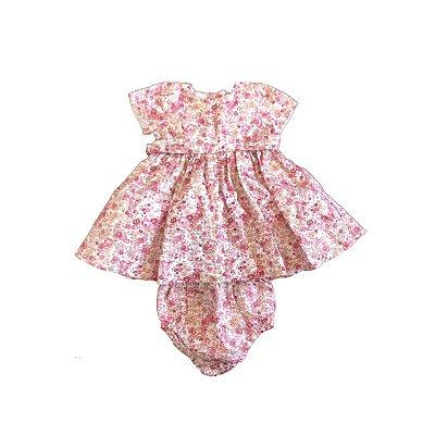 Vestido BABY COTTONS Infantil Florido Vermelho