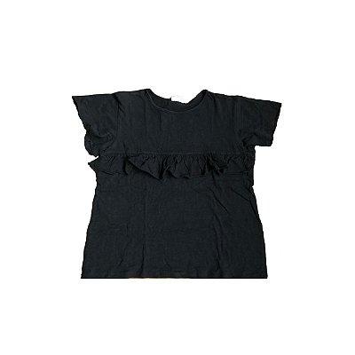 Camiseta ZARA KIDS Infantil Preta Babados