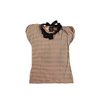 Camiseta ZARA BASIC Feminina Listras Preta e Camelo