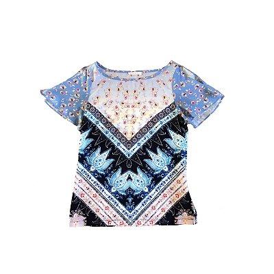 Blusa SPEZZATO Feminina Estampada Azul