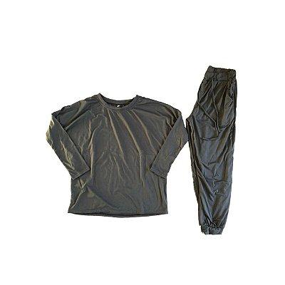 Conjunto Calça e Blusa em Malha Feminina Chumbo