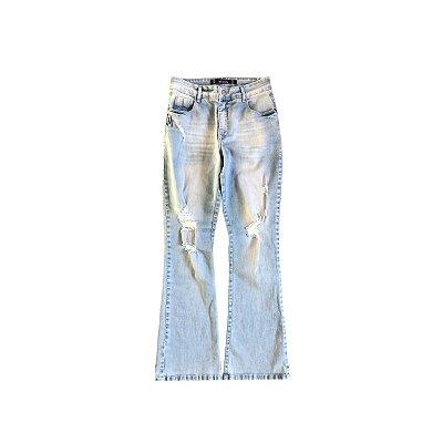 Calça Jeans SPEZZATO Feminina Azul Clara Destroyer