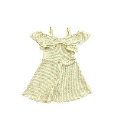 Vestido Zara Kids Listrado Amarelo e Branco