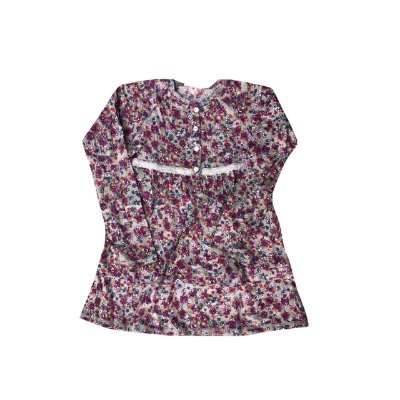 Vestido Chicco Cinza Florido Manga Longa