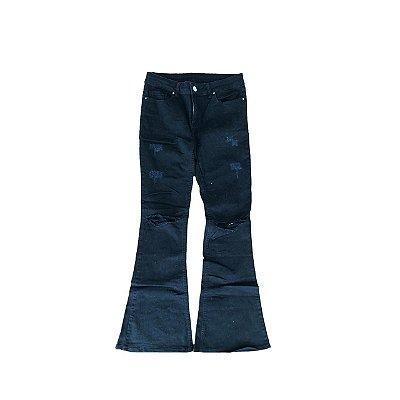 Calça Jeans ANNICK Feminina Preto Flare