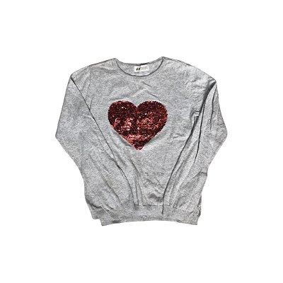 Blusa Tricot H&M Cinza com Lantejoulas Coração