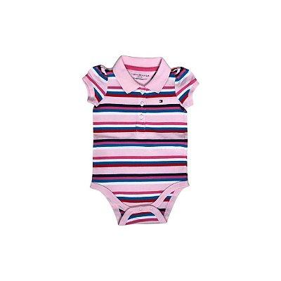 Body Polo TOMMY HILFINGER Infantil Rosa Listras