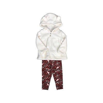 Conjunto CARTER´S Infantil Off White e Vinho - Calça e Blusa Peluda