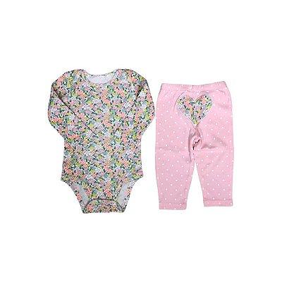 Conjunto CARTER´S Infantil  - Body Florido e Calça Rosa