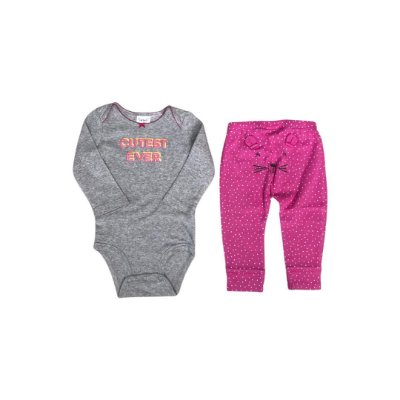Conjunto CARTER´S Infantil  - Body Cinza e Calça Pink