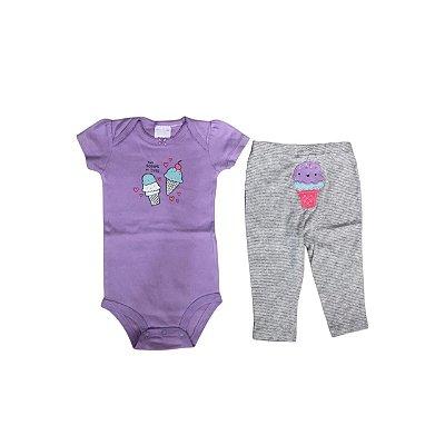 Conjunto CARTER´S Infantil  - Body Lilas e Calça Cinza
