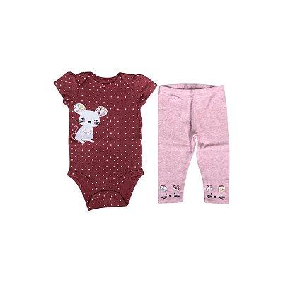 Conjunto CARTER´S Infantil  - Body Rose e Calça Rosa
