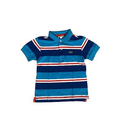 Camiseta Polo LACOSTE Infantil Listras Azul e Vermelho