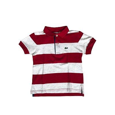 Camiseta Polo LACOSTE Infantil Listras Mescla e Vermelha