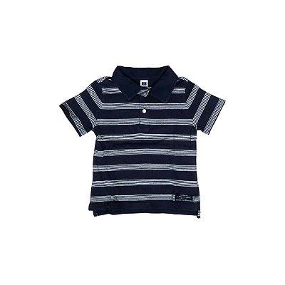 Camiseta Polo JANIE AND JACK Infantil Listras Marinho e Branca