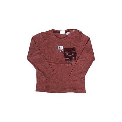 Camiseta Manga Longa ZARA Infantil Vermelho